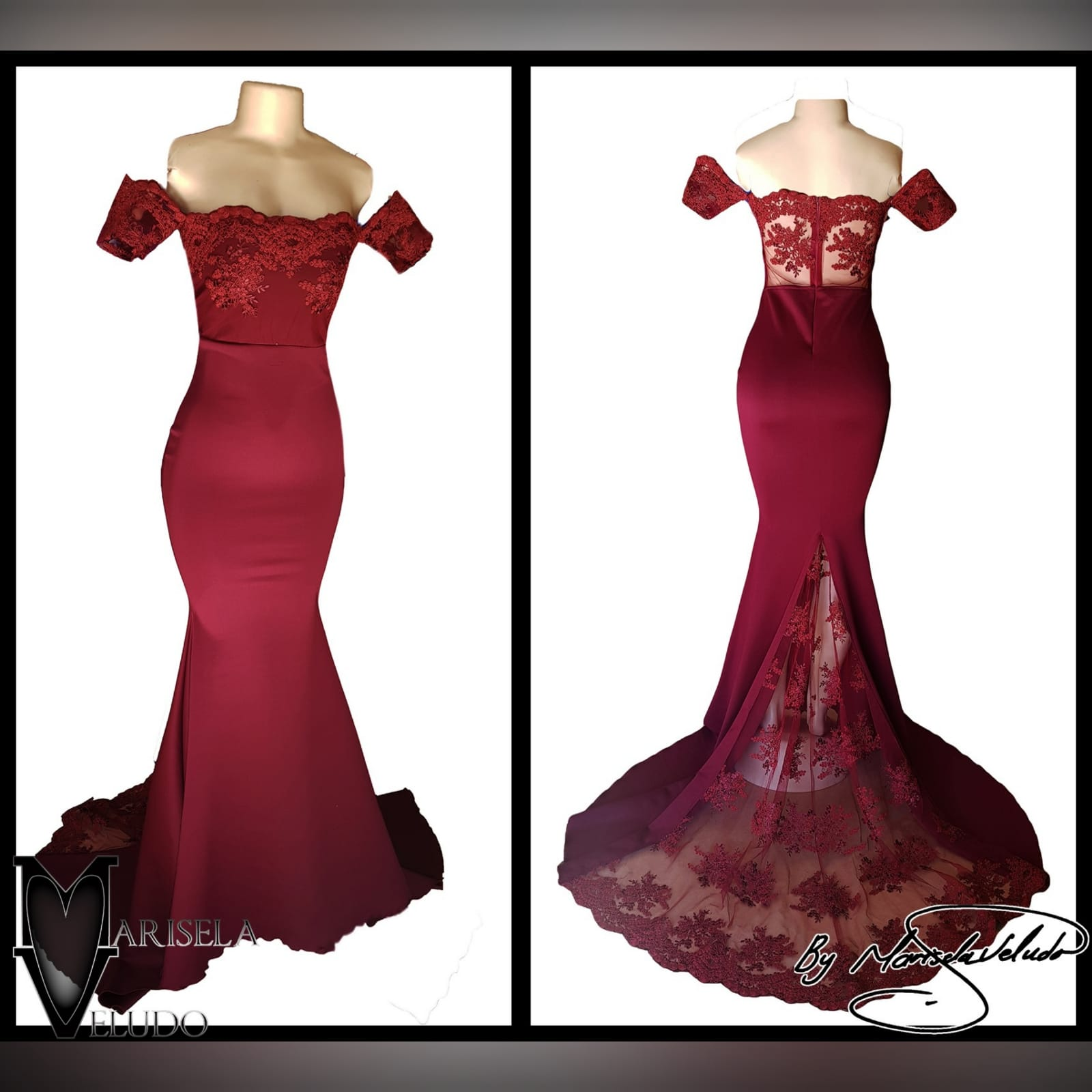 Maroon soft mermaid evening dress with lace bodice 4 maroon soft mermaid evening dress with lace bodice, back detailed with lace. With a lace train and lace border.
