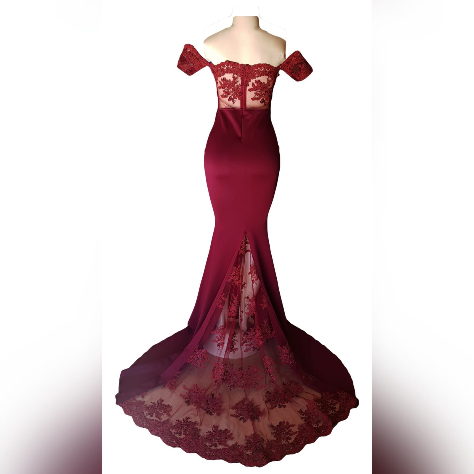 Maroon soft mermaid evening dress with lace bodice 2 maroon soft mermaid evening dress with lace bodice, back detailed with lace. With a lace train and lace border.