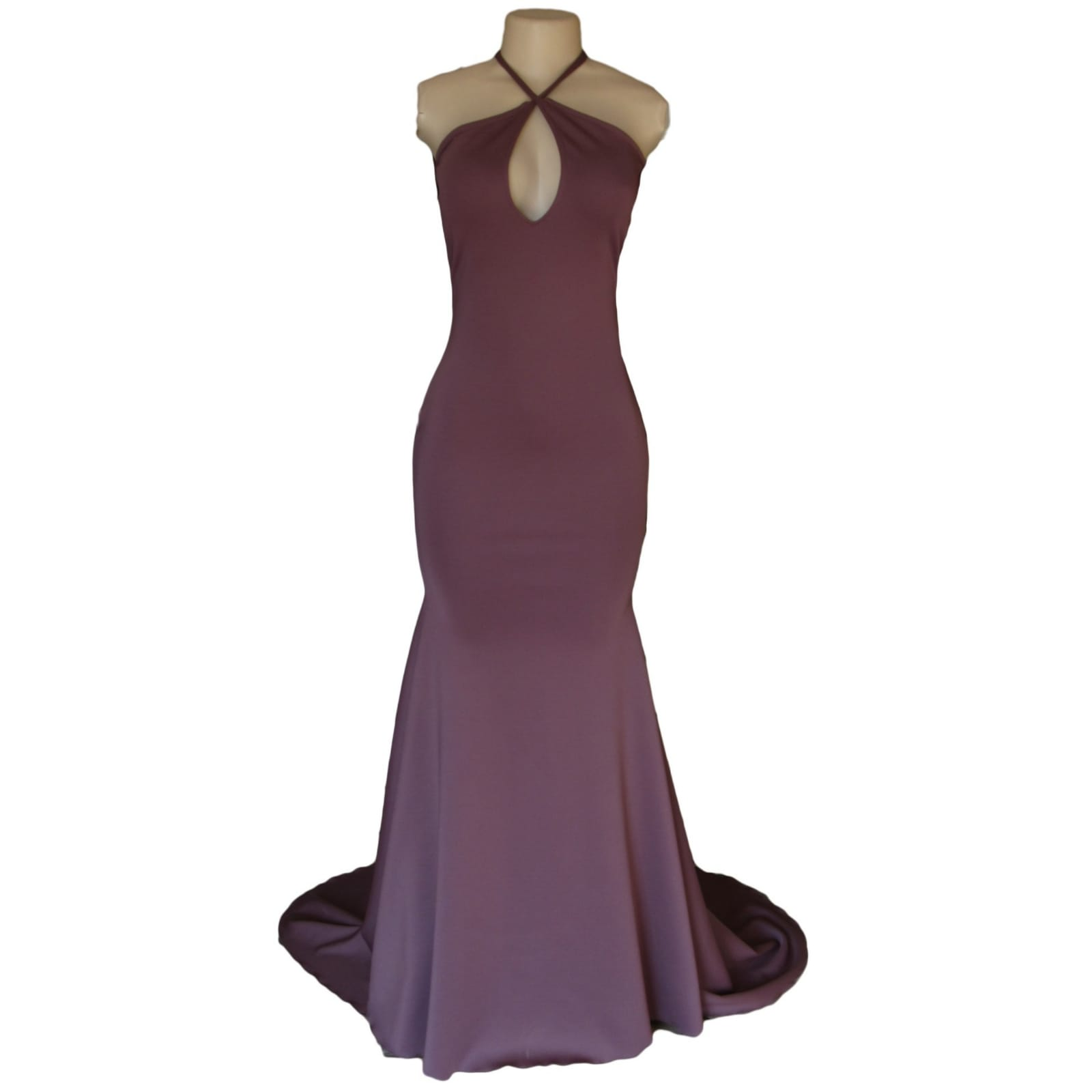 Mauve soft mermaid prom dress 6 mauve soft mermaid prom dress with a low open pleated back with cross strap with a train and a teardrop cleavage opening.