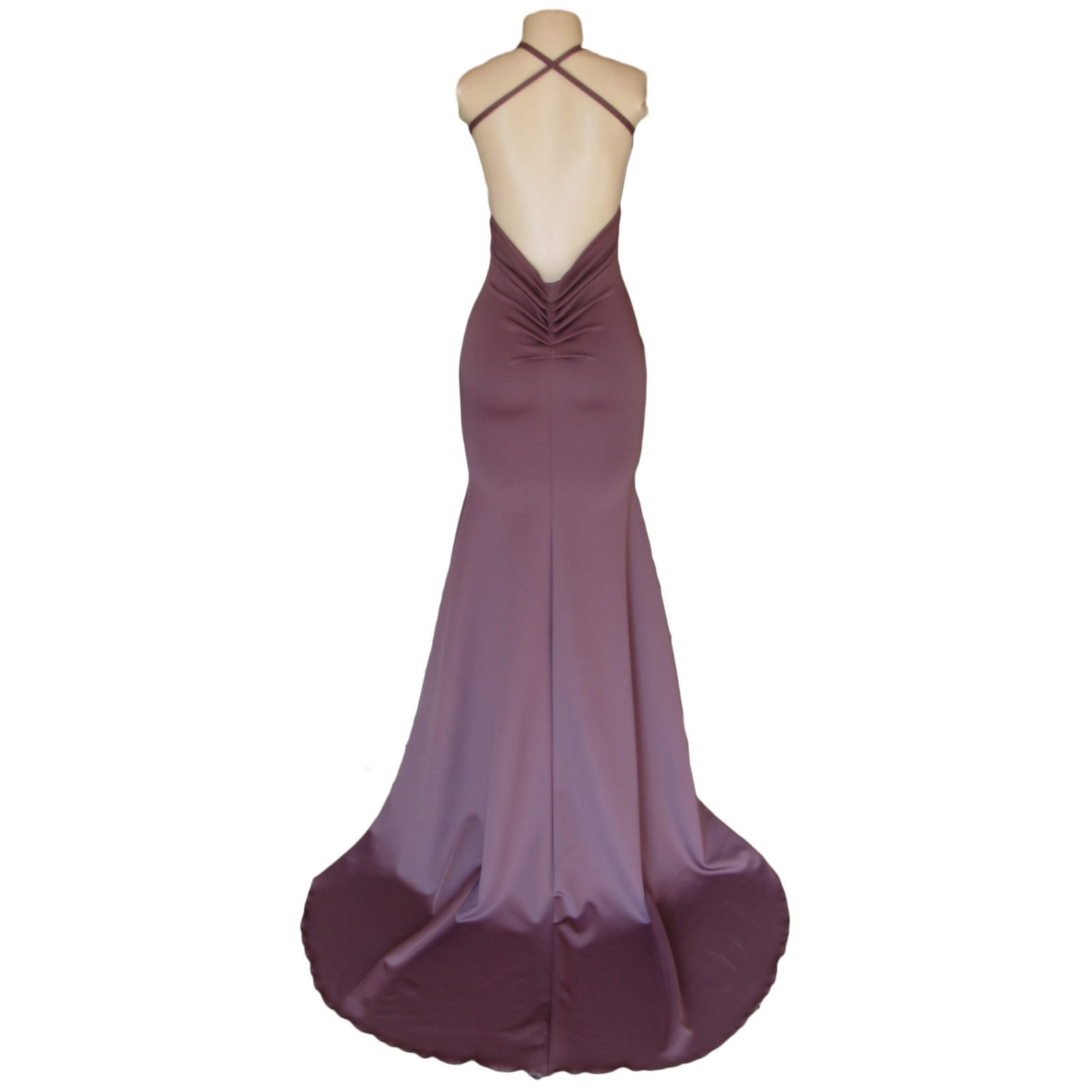 Mauve soft mermaid prom dress 7 mauve soft mermaid prom dress with a low open pleated back with cross strap with a train and a teardrop cleavage opening.