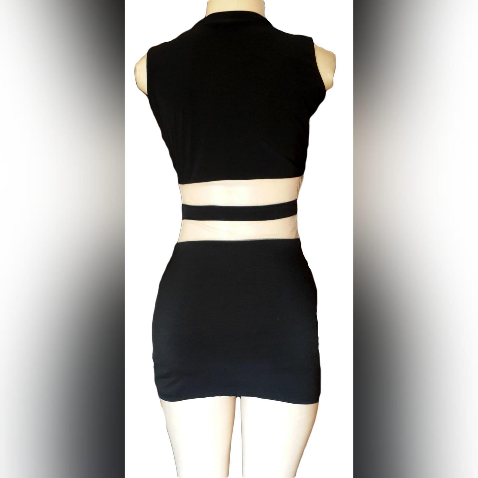 Mini black smart casual dress 4 mini black smart casual dress with see through tummy design and funky neckline