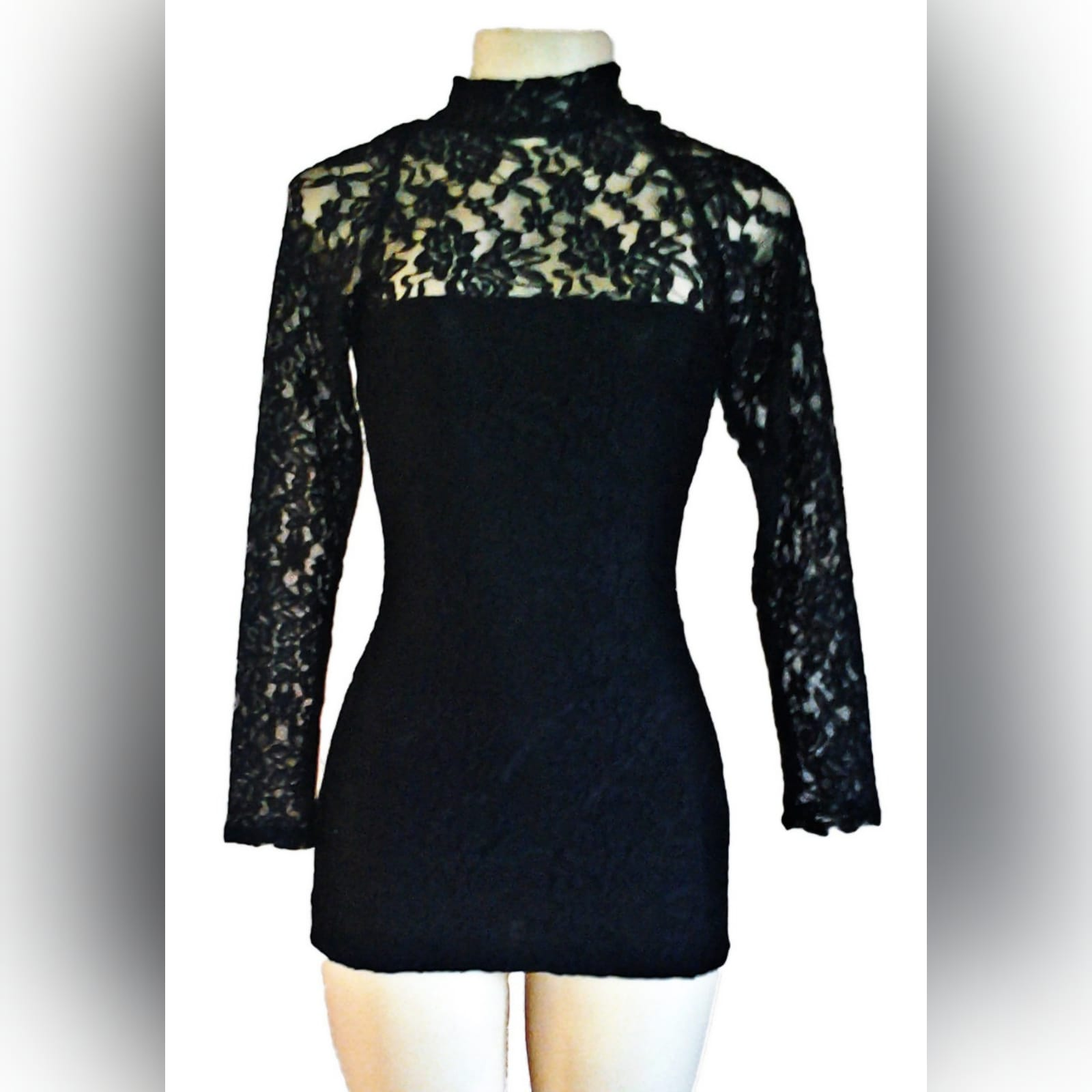 Mini lace black party dress 1 mini lace black party dress with a sheer choker neckline and long lace sleeves