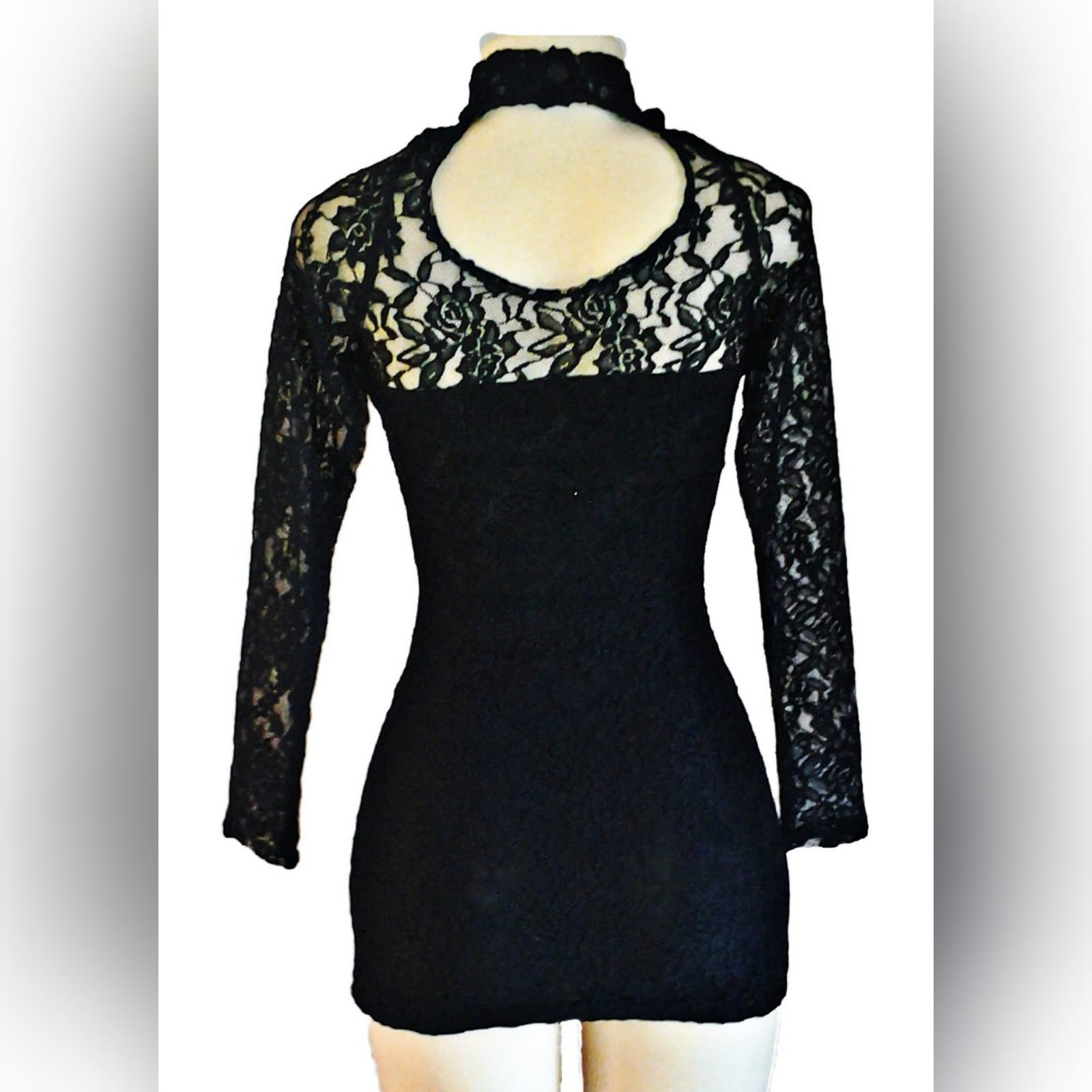 Mini lace black party dress 4 mini lace black party dress with a sheer choker neckline and long lace sleeves