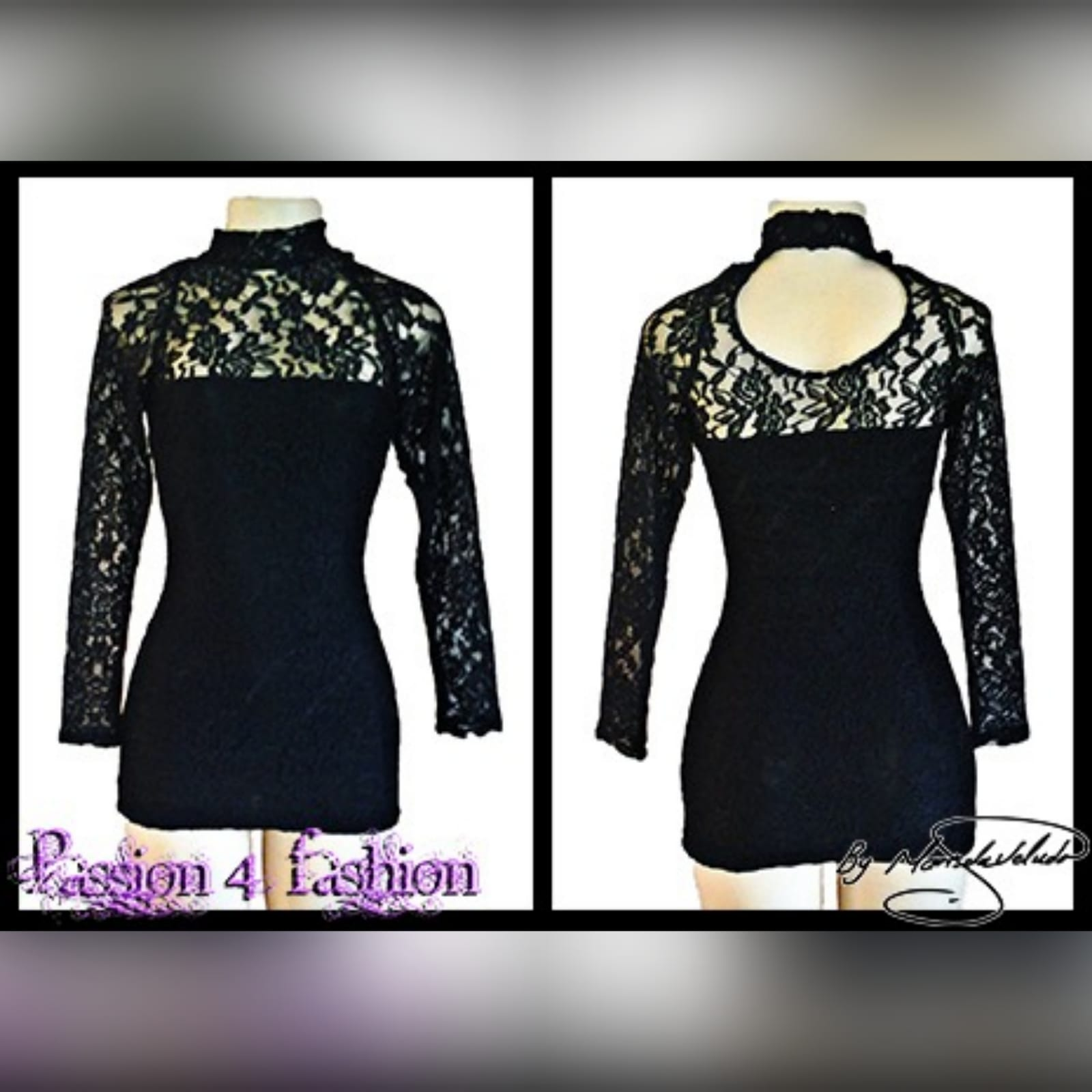 Mini lace black party dress 2 mini lace black party dress with a sheer choker neckline and long lace sleeves