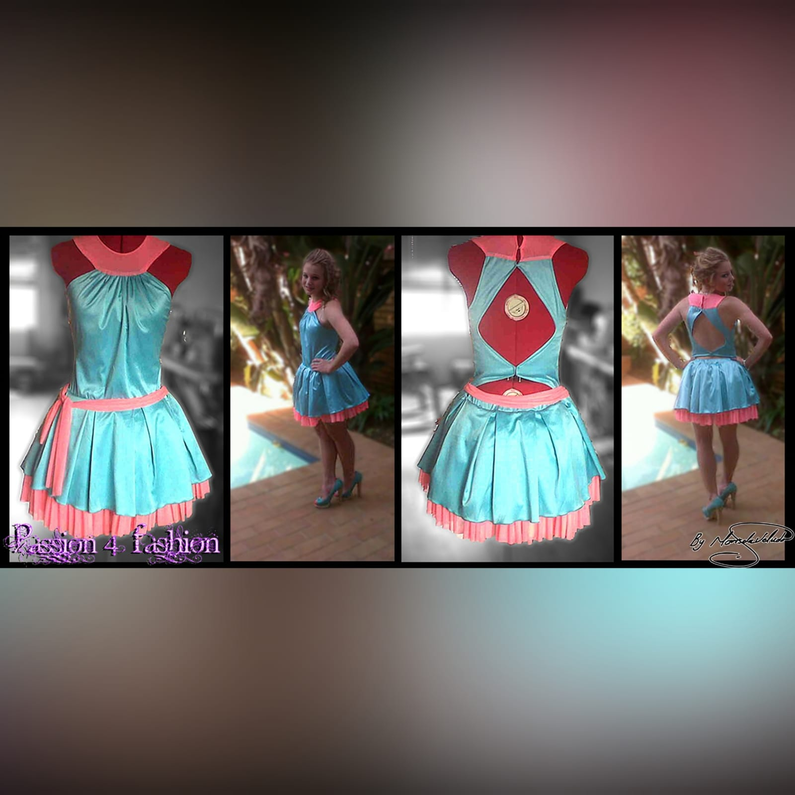 Mint green and coral short party dress 3 mint green and coral short party dress, with a gathered neckline, pleated bottom part with a coral mesh frill, with a diamond open back and a tie-up belt.