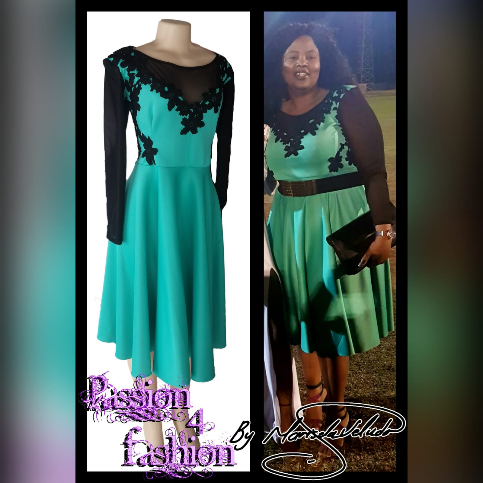 Mint green and black knee length evening dress 3 mint green and black knee length evening dress, with black sheer neckline and sleeves.