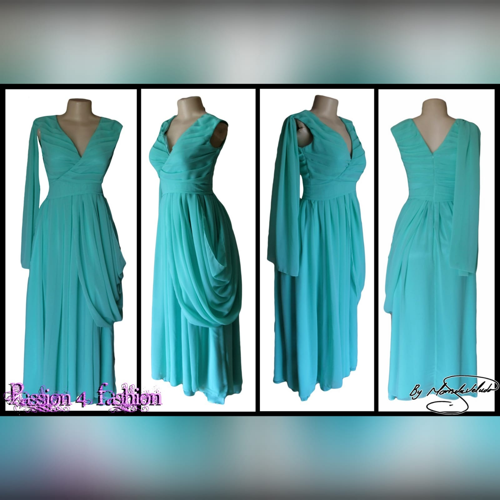 Mint green, long draped mother of the brides dress 6 mint green, long draped mother of the brides dress. With a crossed bust v neckline. Shoulder and hip draping detail.