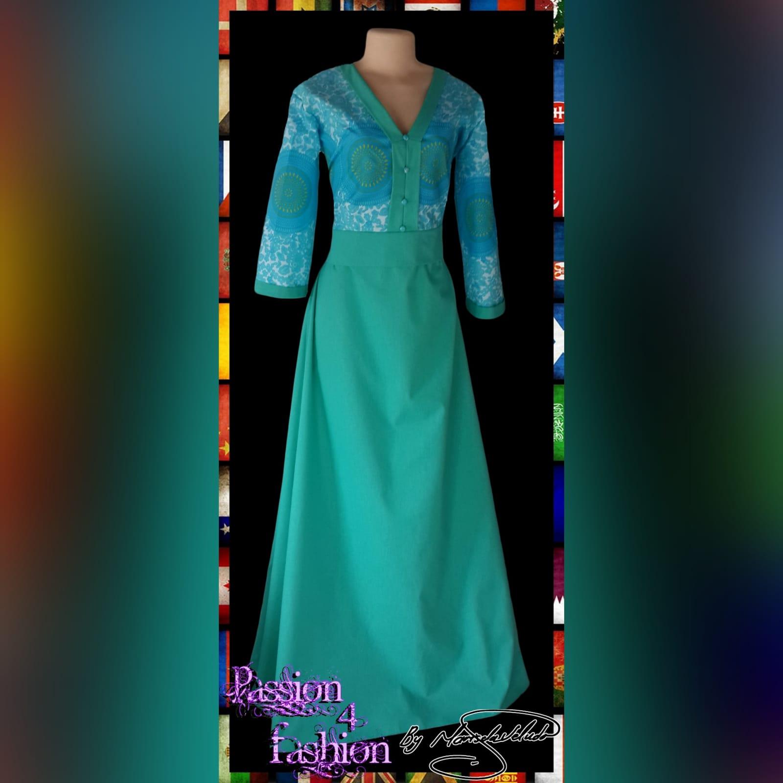 Mint green long modern traditional dress 1 mint green long modern traditional dress with 3/4 length sleeves