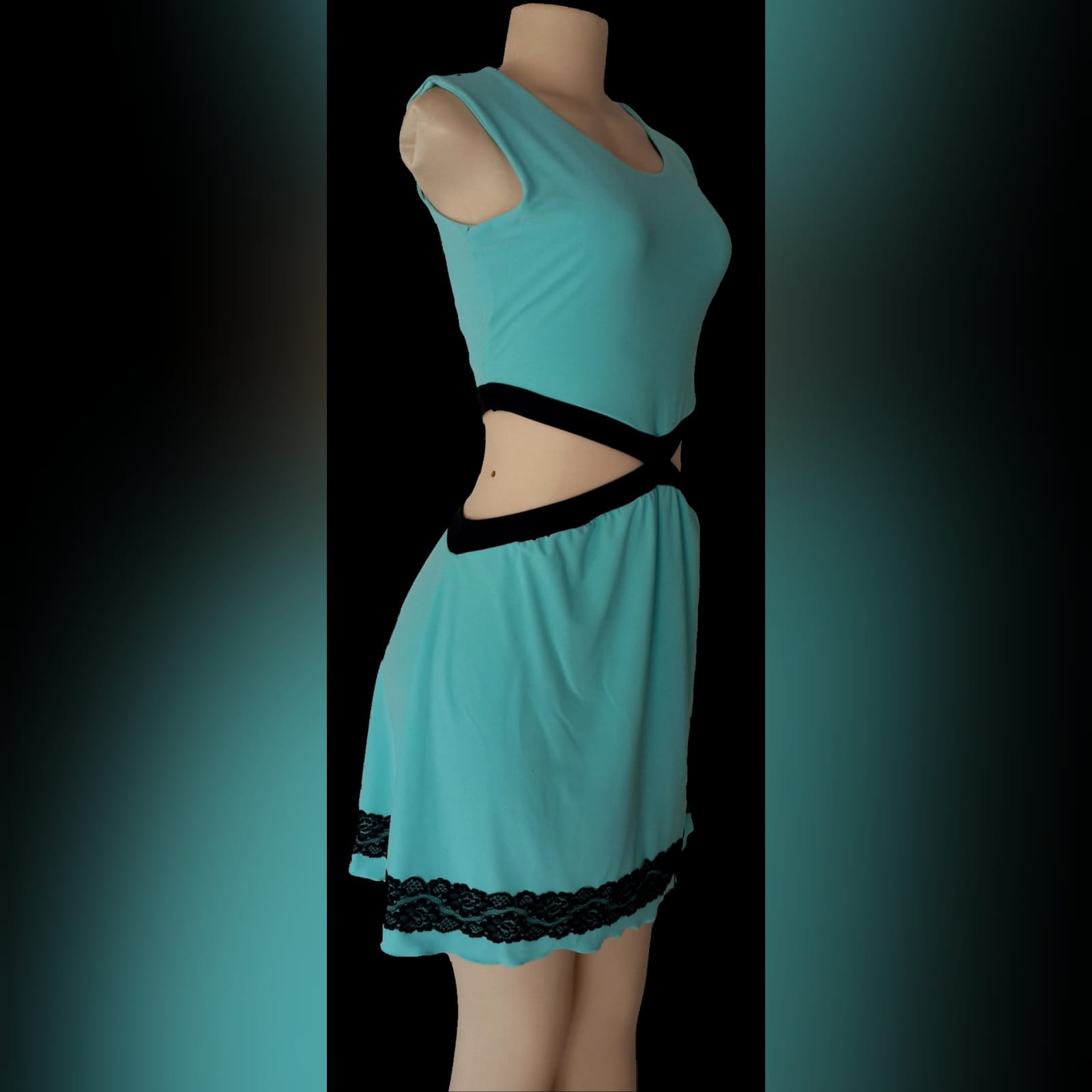 Mint green short smart casual dress 2 mint green short smart casual dress, open side tummy detailed with black and a lace border