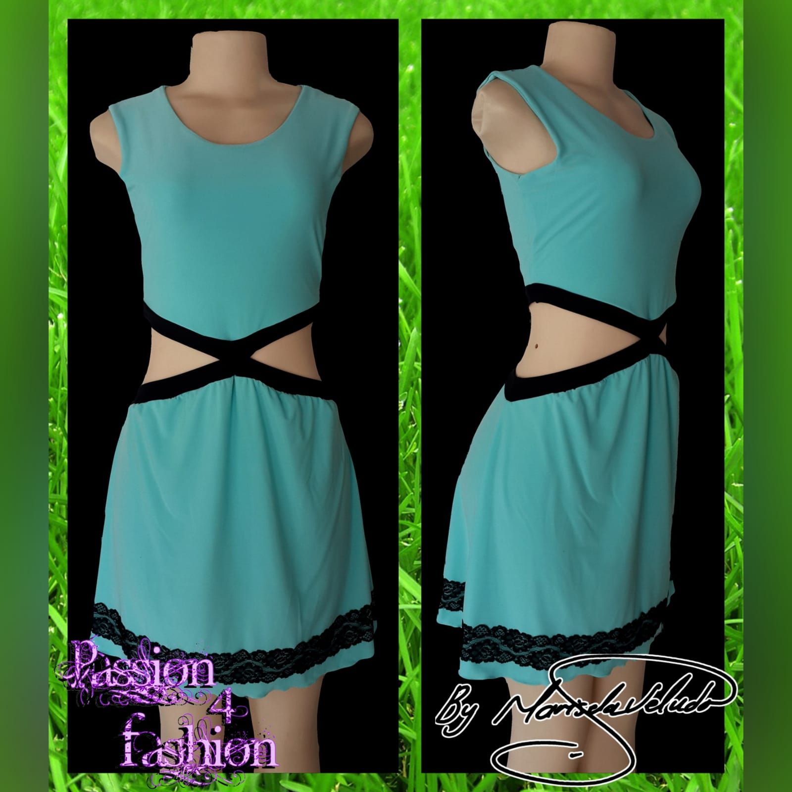 Mint green short smart casual dress 4 mint green short smart casual dress, open side tummy detailed with black and a lace border