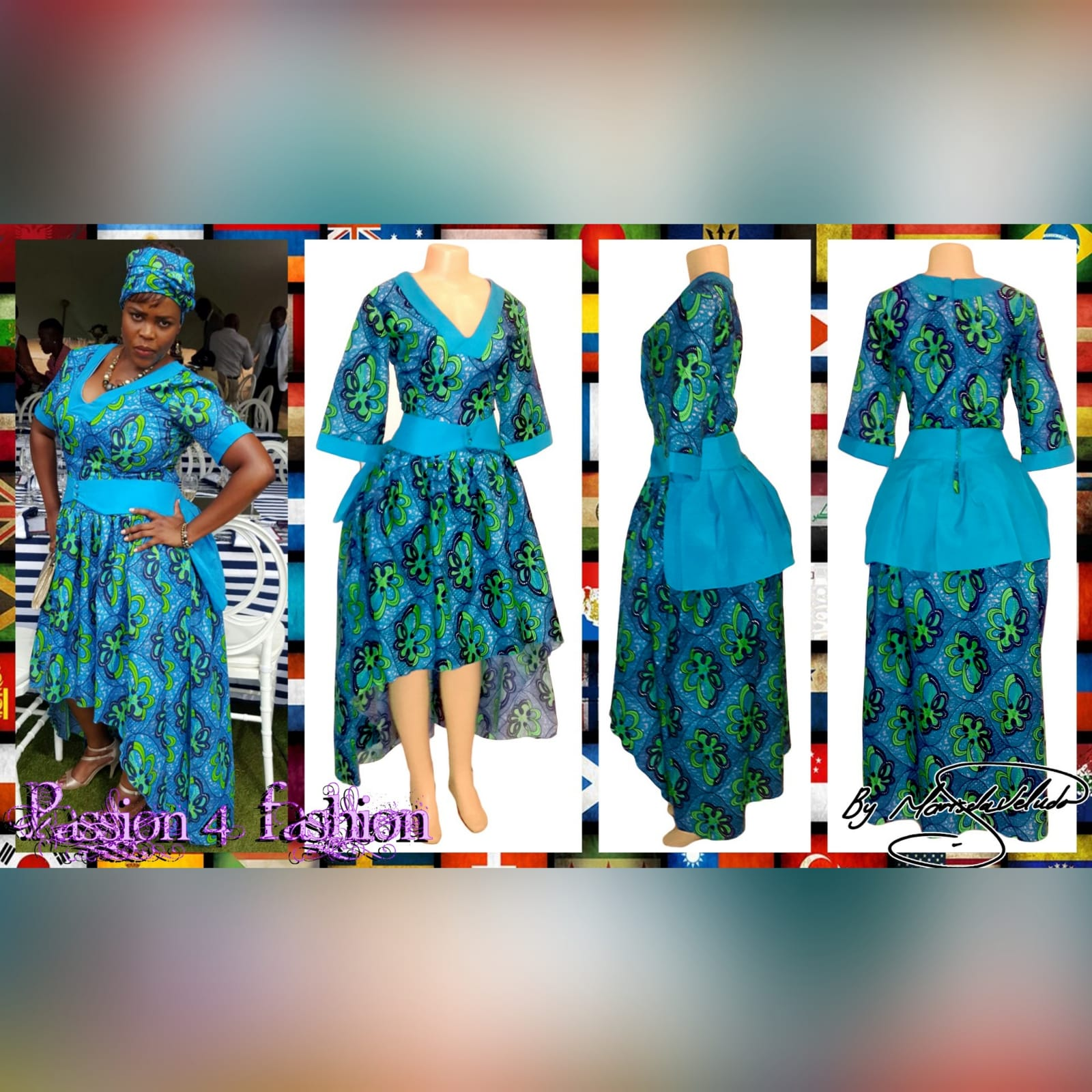 Modern traditional green and blue high low dress 6 modern traditional green and blue hi lo dress with a v neckline, 3/4 sleeves and a back peplum with a waistbelt. Matching doek.