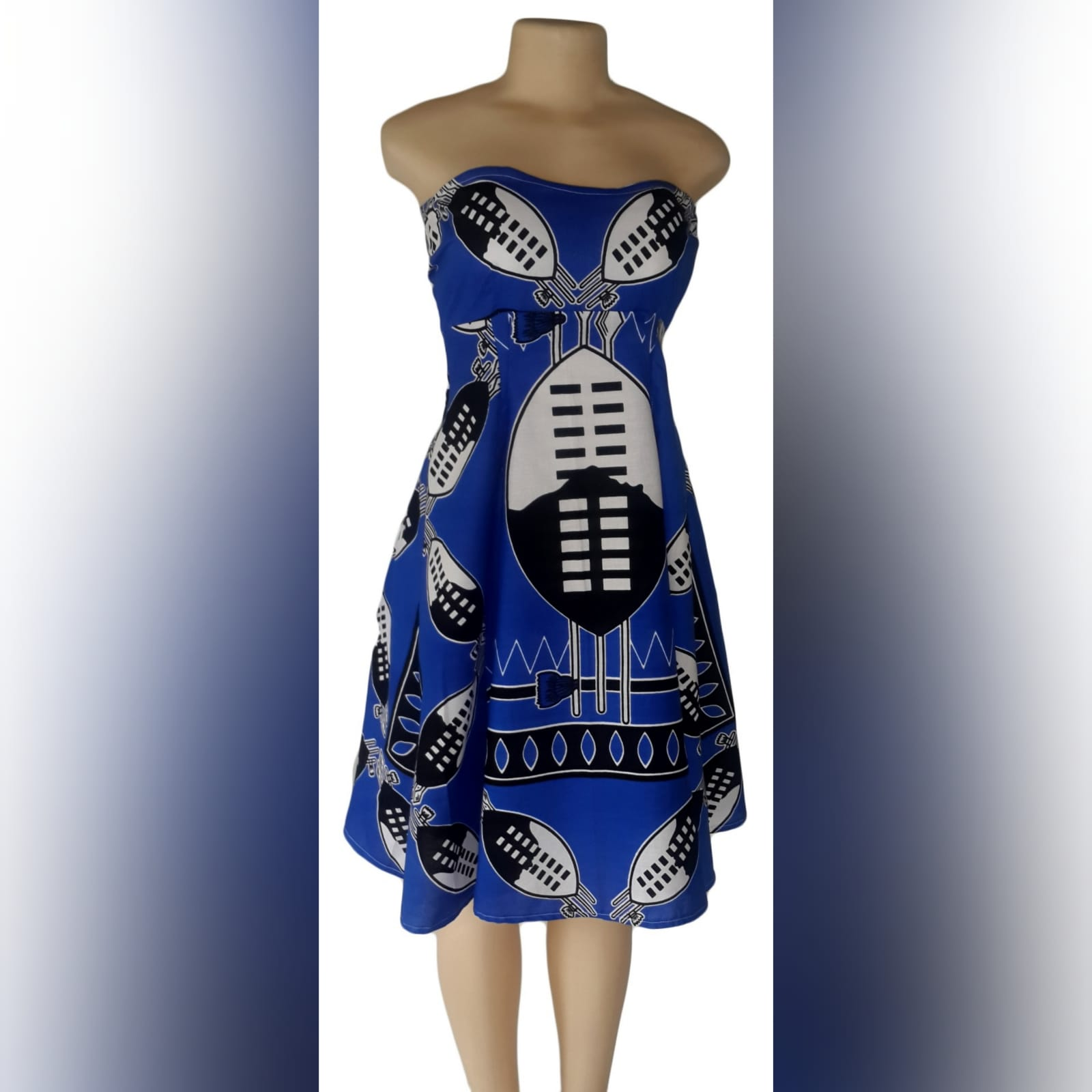 Modern traditonal royal blue swazi dress 1 swati royal blue boob tube knee length dress. Delivered to client