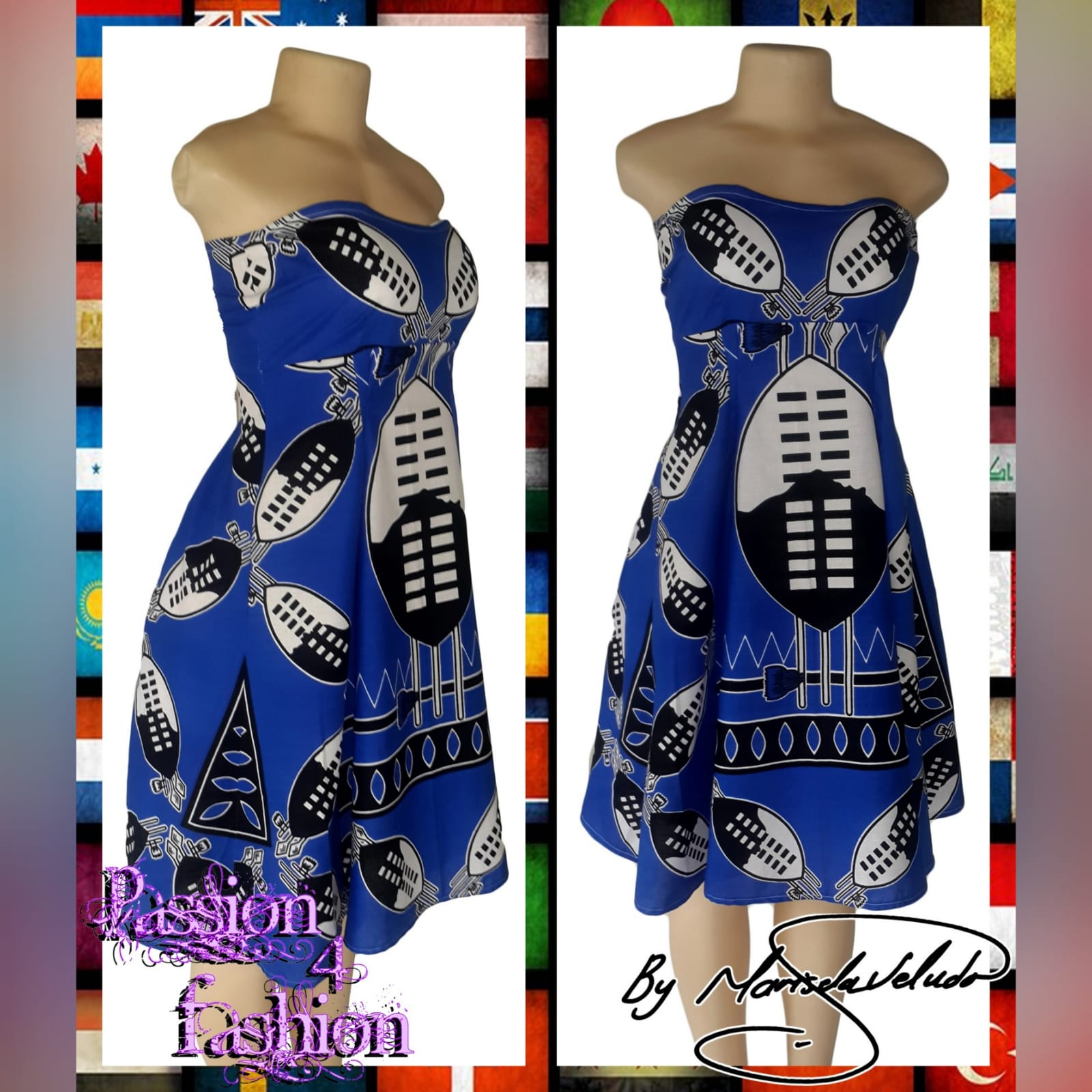Modern traditonal royal blue swazi dress 4 swati royal blue boob tube knee length dress. Delivered to client