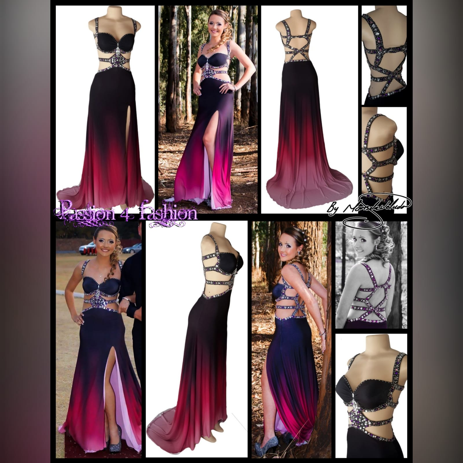 Black pink ombre sexy prom dress 11 black and pink ombre sexy prom dress. With a slit and a train. With tummy and back openings detailed with silver and pink beads.