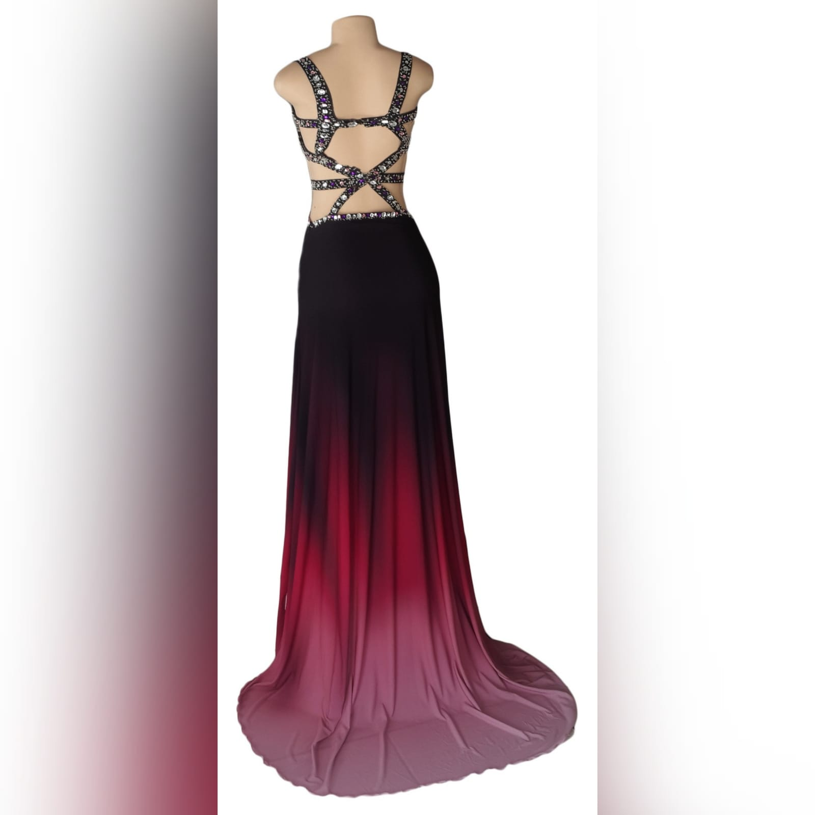 Black pink ombre sexy prom dress 5 black and pink ombre sexy prom dress. With a slit and a train. With tummy and back openings detailed with silver and pink beads.