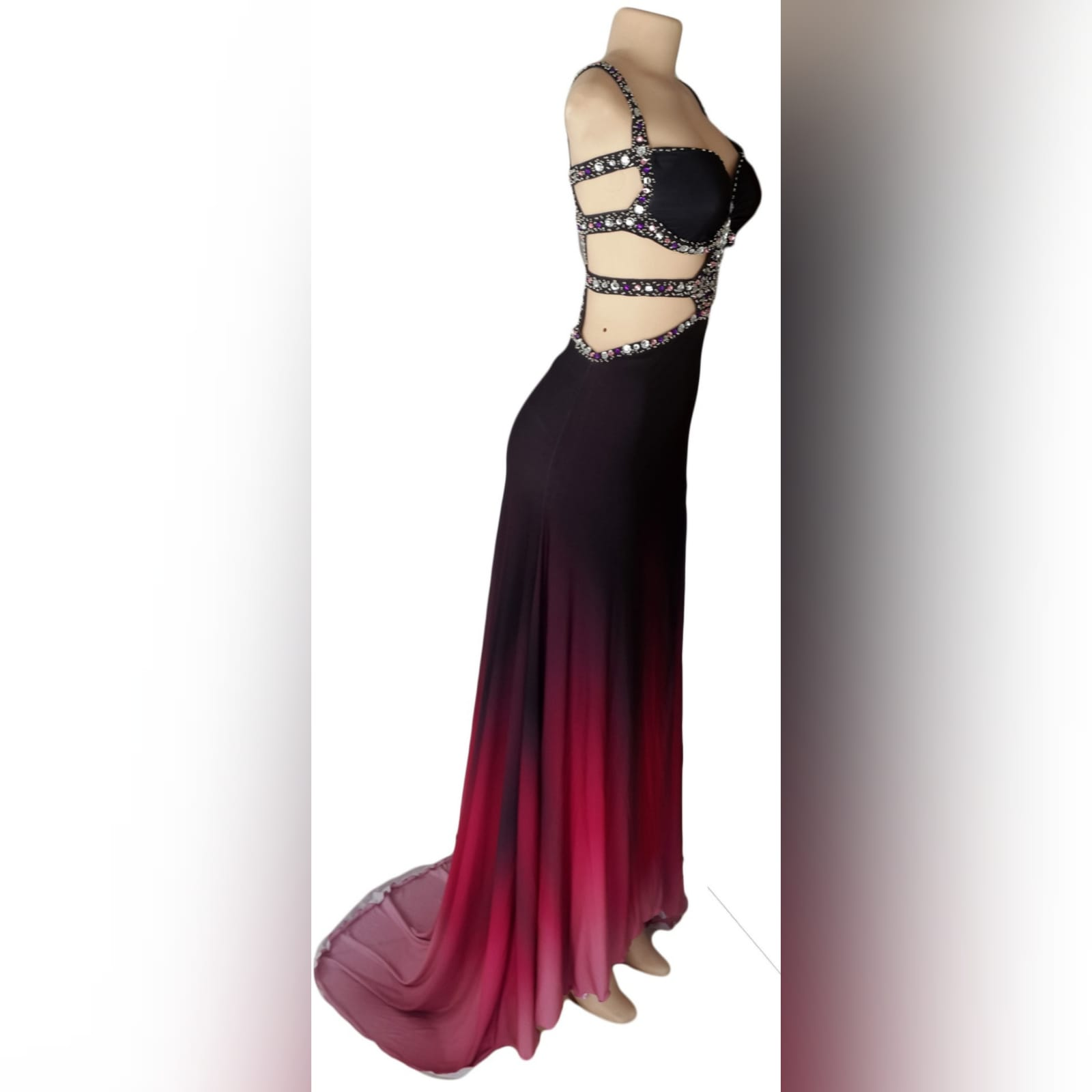 Black pink ombre sexy prom dress 10 black and pink ombre sexy prom dress. With a slit and a train. With tummy and back openings detailed with silver and pink beads.