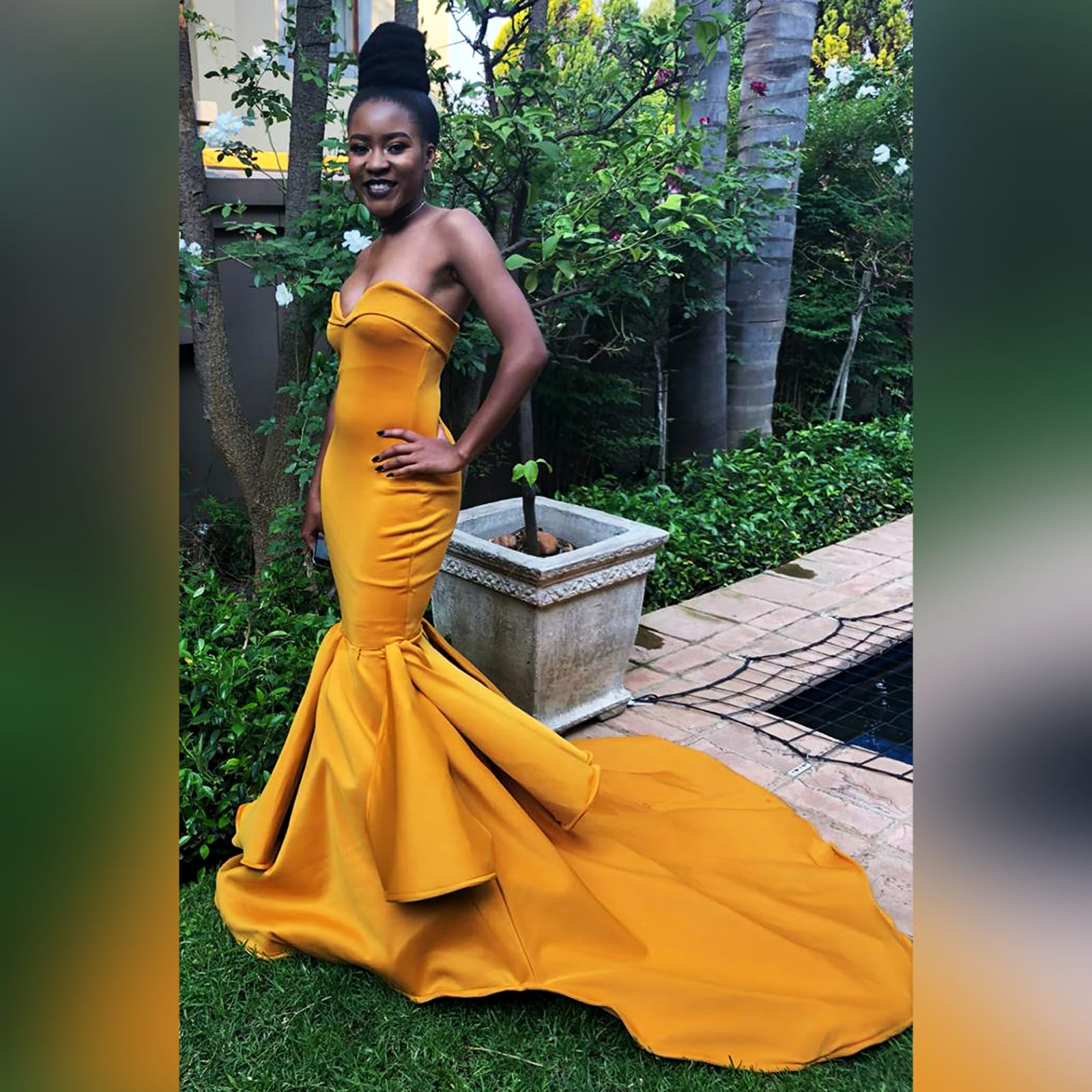 Mustard yellow sweetheart neckline mermaid prom dress 1 mustard yellow sweetheart neckline mermaid prom dress. With train and detailed stiff tubes