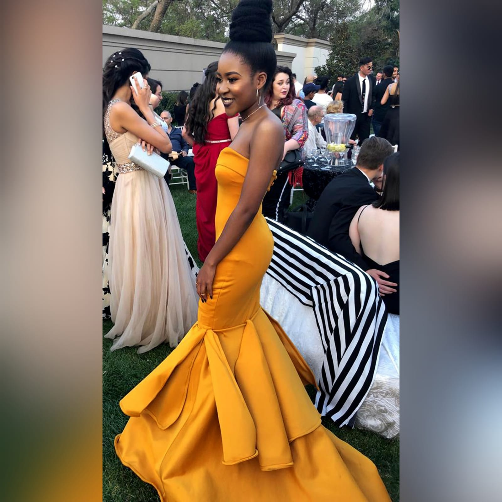 Mustard yellow sweetheart neckline mermaid prom dress 4 mustard yellow sweetheart neckline mermaid prom dress. With train and detailed stiff tubes