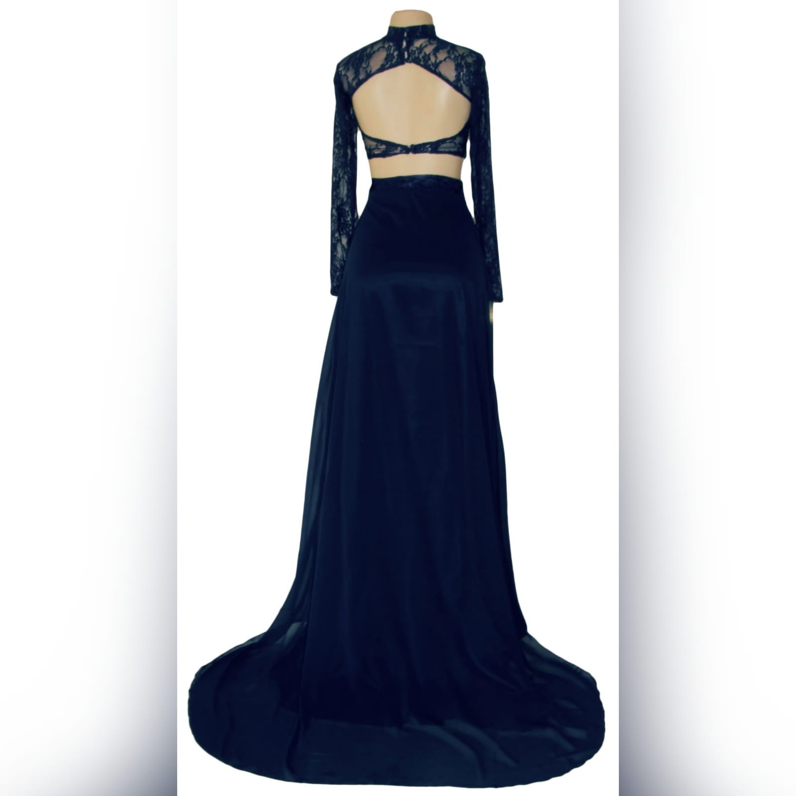 Navy blue 2 piece lace top matric dance dress 4 navy blue 2 piece lace top matric dance dress. Top with sheer long lace sleeves and open back flowy skirt with high slit and a train.