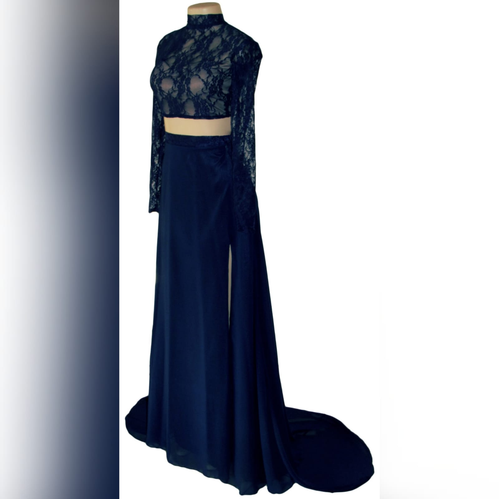 Navy blue 2 piece lace top matric dance dress 6 navy blue 2 piece lace top matric dance dress. Top with sheer long lace sleeves and open back flowy skirt with high slit and a train.