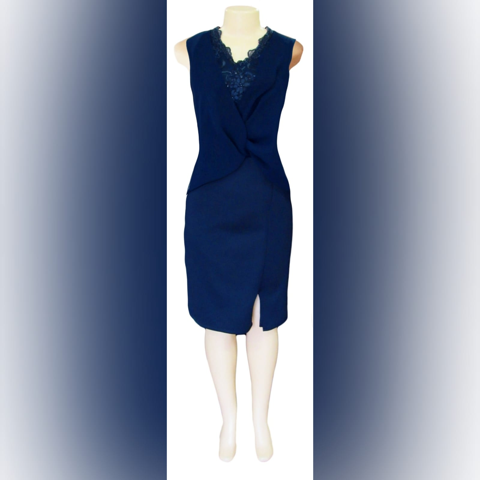 Navy blue knee length mother of the bride dress 5 navy blue knee length mother of the bride dress, fitted bottom, with a slit. Lace bodice with an overlay of pleated chiffon.