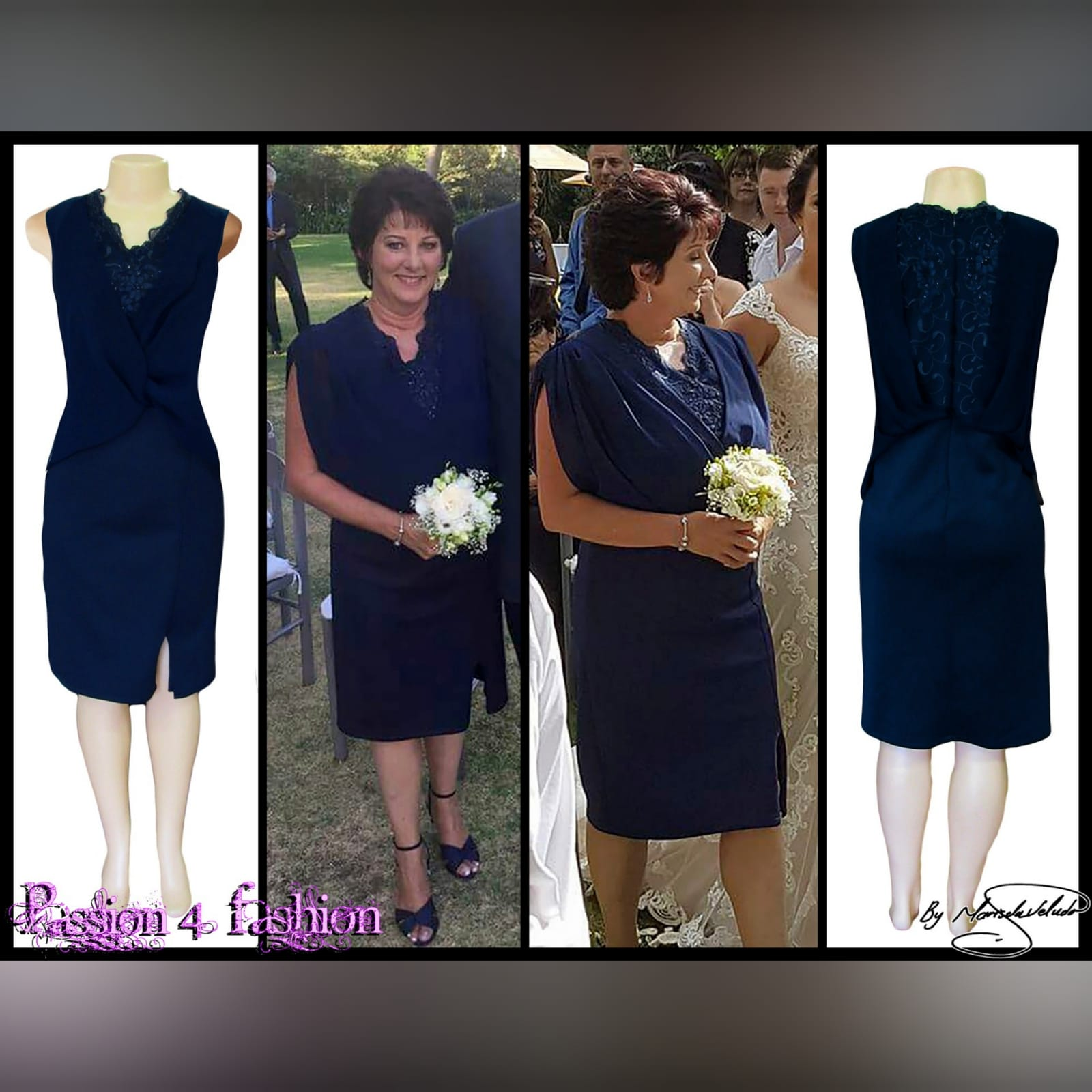 Navy blue knee length mother of the bride dress 6 navy blue knee length mother of the bride dress, fitted bottom, with a slit. Lace bodice with an overlay of pleated chiffon.