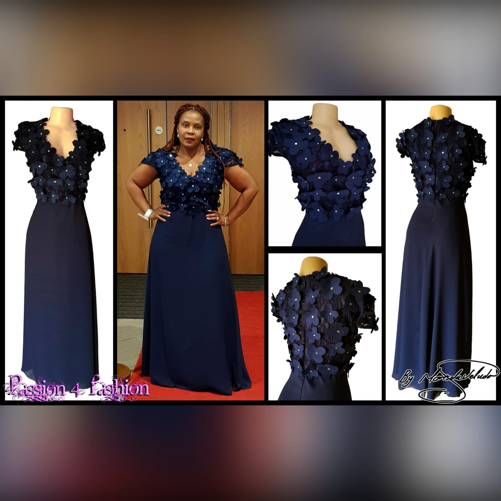 Navy blue long evening dress bodice 6 navy blue long evening dress bodice in lace with 3d suede flowers, detailed with silver beads.