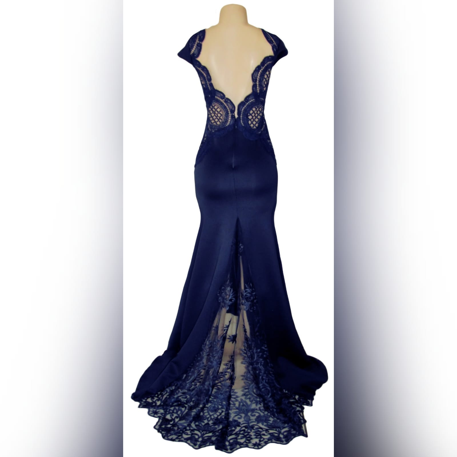 Navy blue long flowy dress with lace bodice 3 navy blue long flowy dress with lace bodice, v neckline & low v open back with a slit.