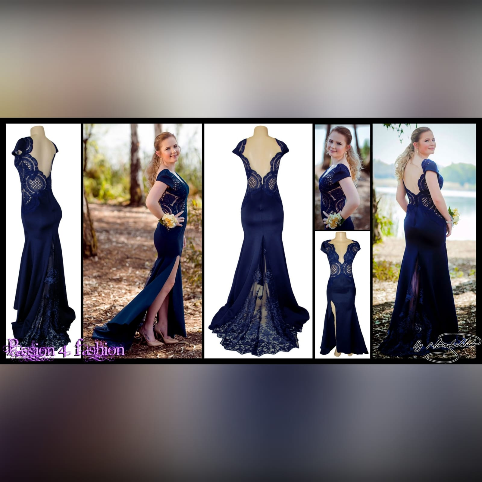 Navy blue long flowy dress with lace bodice 6 navy blue long flowy dress with lace bodice, v neckline & low v open back with a slit.
