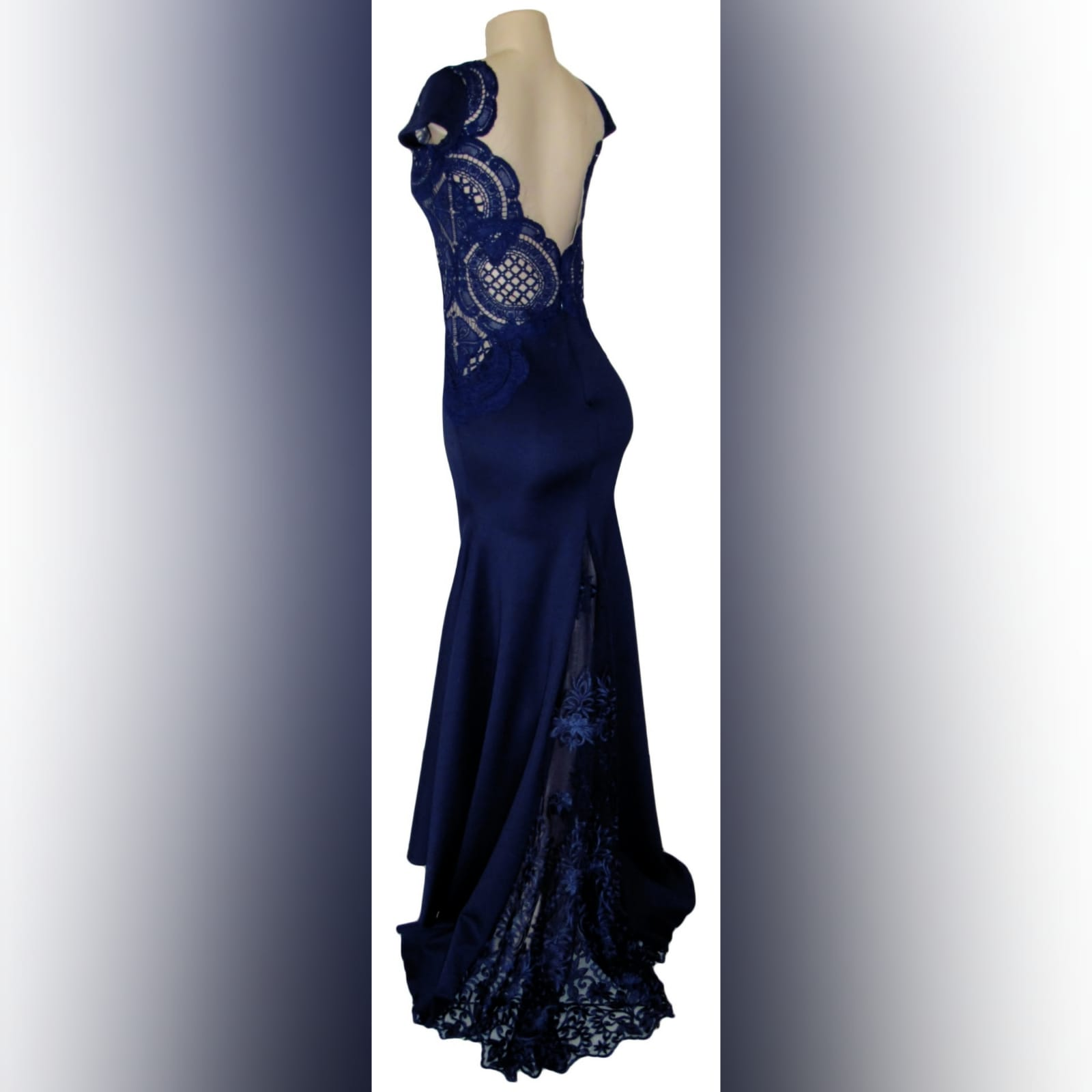 Navy blue long flowy dress with lace bodice 8 navy blue long flowy dress with lace bodice, v neckline & low v open back with a slit.
