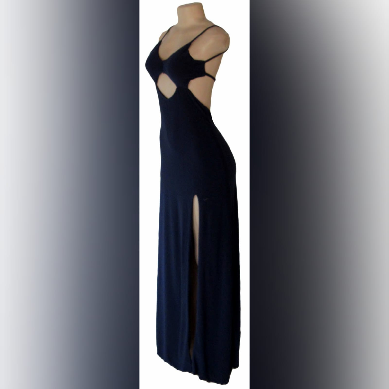 Navy blue long sexy evening dress 4 navy blue long sexy evening dress, with a low open back, side tummy openings and a diamond shaped opening under the bust. With a high slit