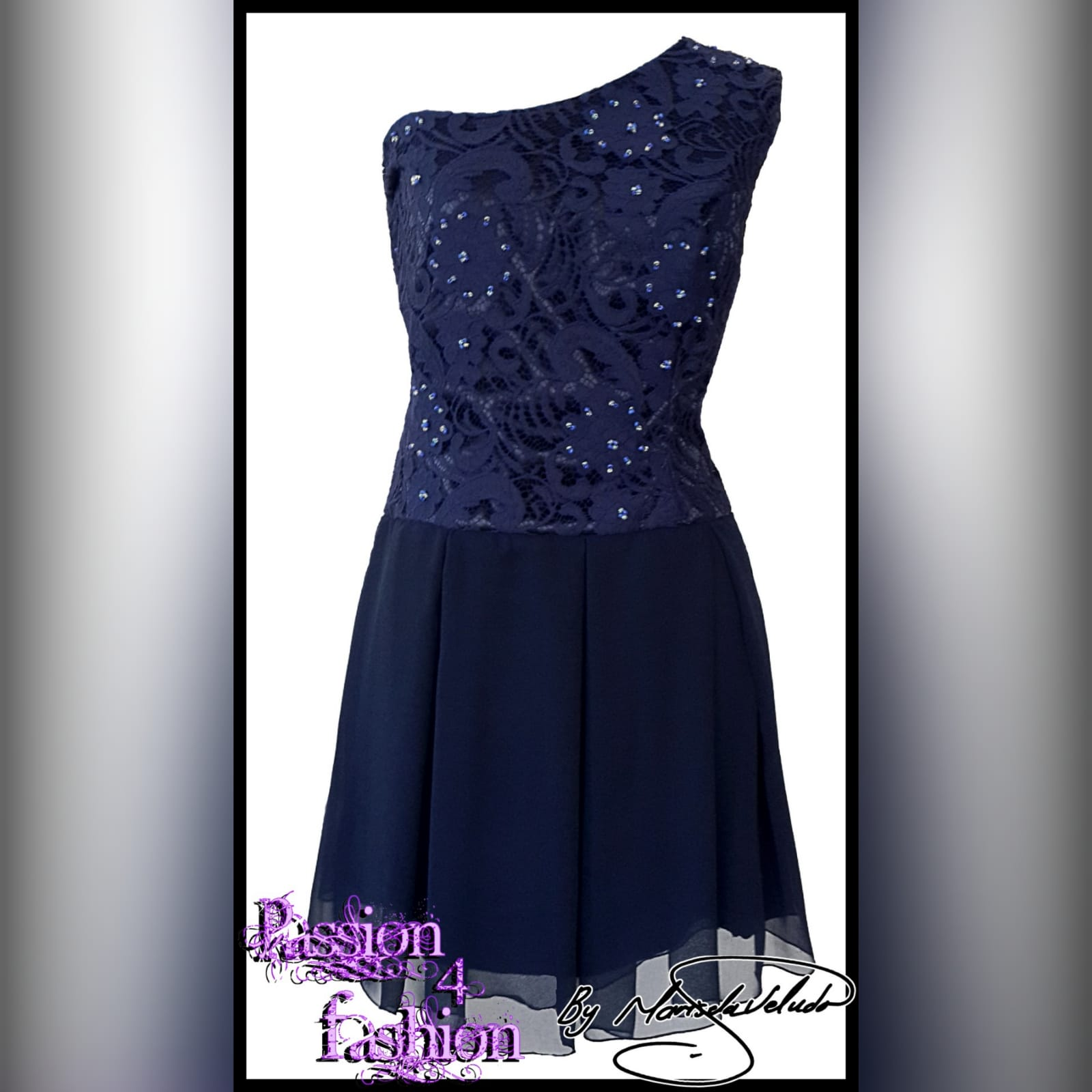 Navy blue short party evening dress 1 navy blue short party evening dress, with a one shoulder lace bodice, and bottom wide pleated chiffon skirt part