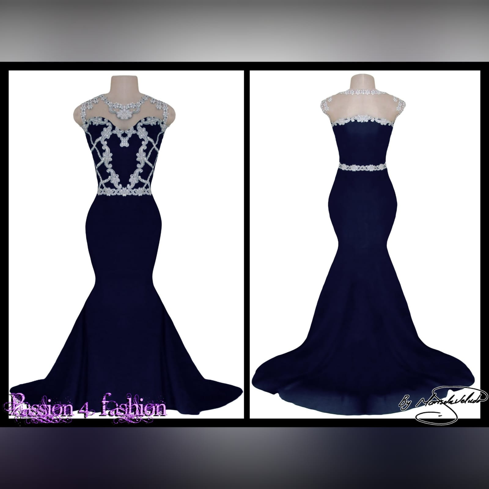 Navy blue & silver soft mermaid formal dress 3 navy blue & silver soft mermaid formal dress. Bodice detailed in silver bling. With a waist belt effect. An illusion neckline and a train.