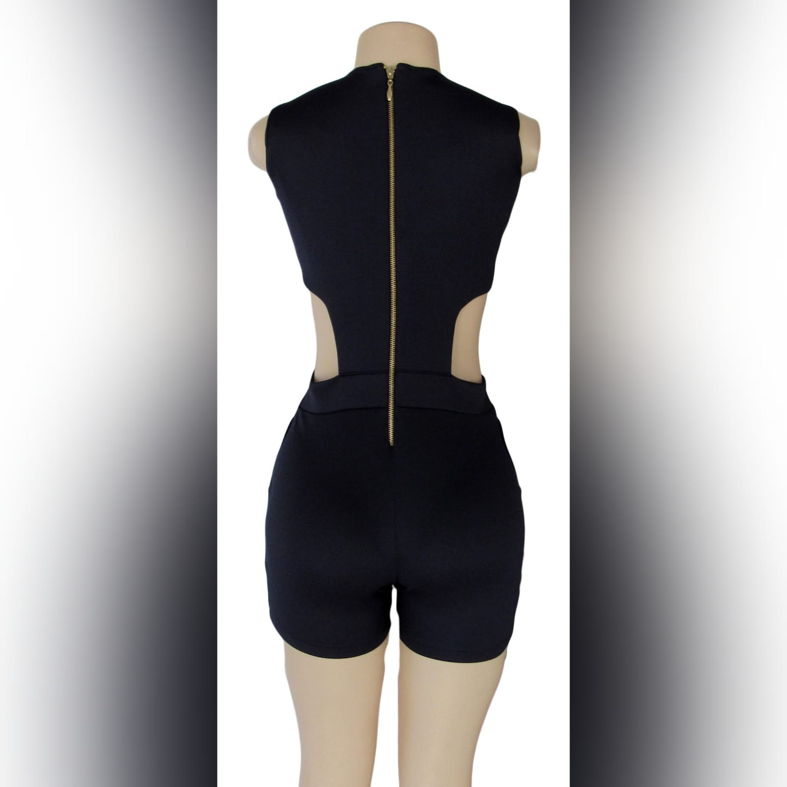 Navy blue smart casual bodysuit 3 navy blue smart casual bodysuit, with side tummy openings, v neckline detailed with lace-up detail, and back with a gold zipper.