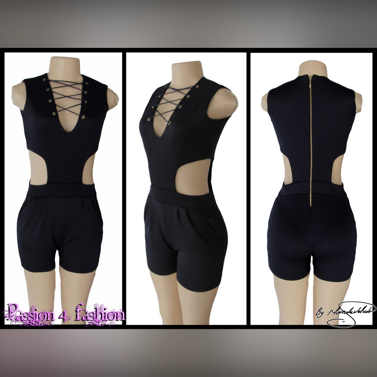Navy blue smart casual bodysuit 4 navy blue smart casual bodysuit, with side tummy openings, v neckline detailed with lace-up detail, and back with a gold zipper.