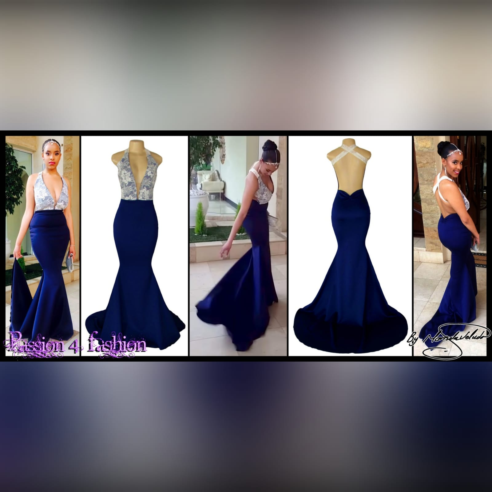 Navy blue & white lace plunging neckline soft mermaid sexy matric dance dress 6 navy blue & white lace plunging neckline soft mermaid sexy matric dance dress with an open back and crossed lace back straps with a train.