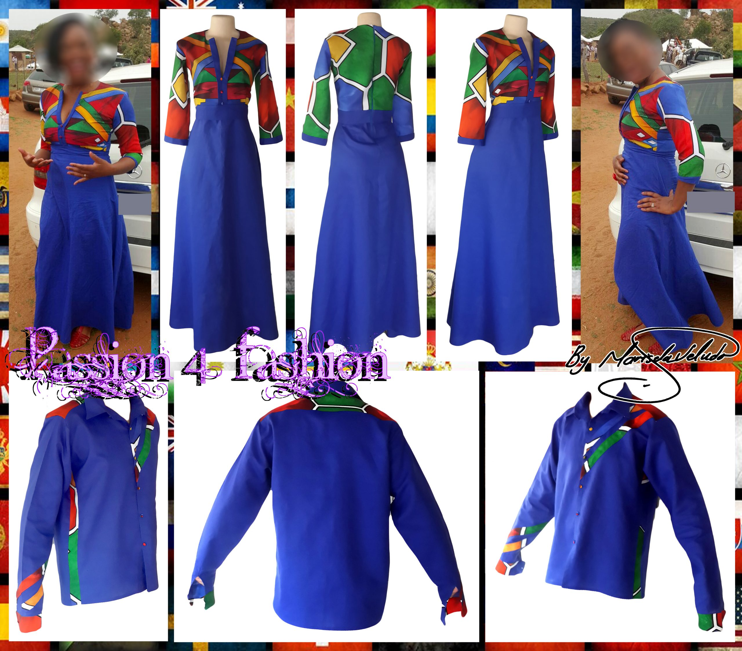 Royal blue ndebele dress and matching ndebele shirt 2 royal blue and ndebele empire fit dress. Bodice with ndebele print and 3/4 sleeves and an under bust belt. Mens matching ndebele shirt in royal blue. Traditional wedding attire.