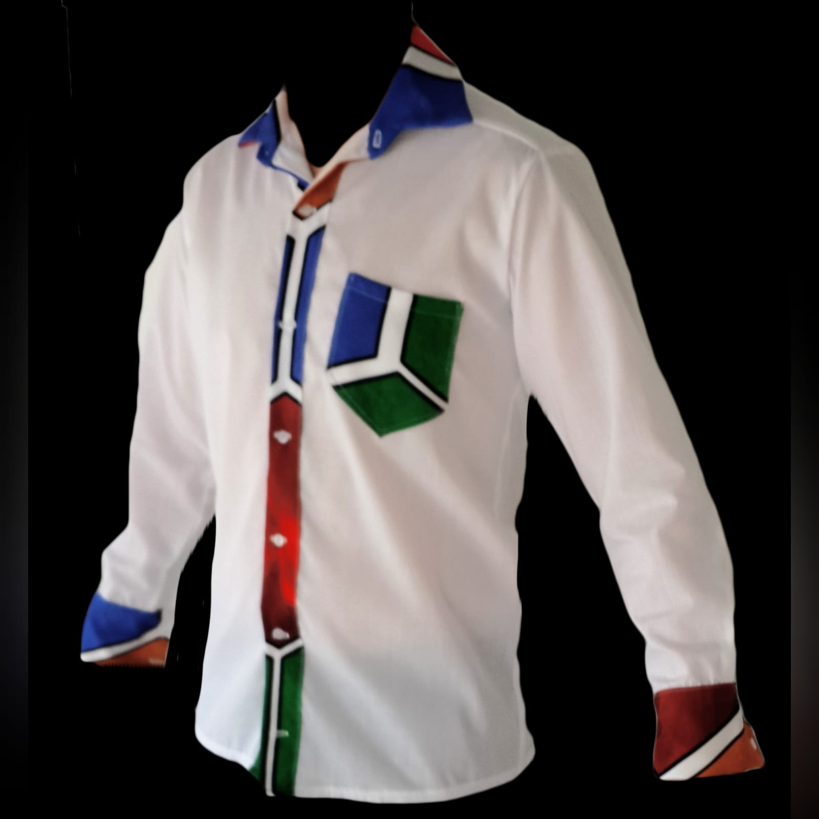 Ndebele empire fit dress with matching shirt 6 custom printed ndebele empire fit, long dress with a white under bust belt with men's matching shirt.