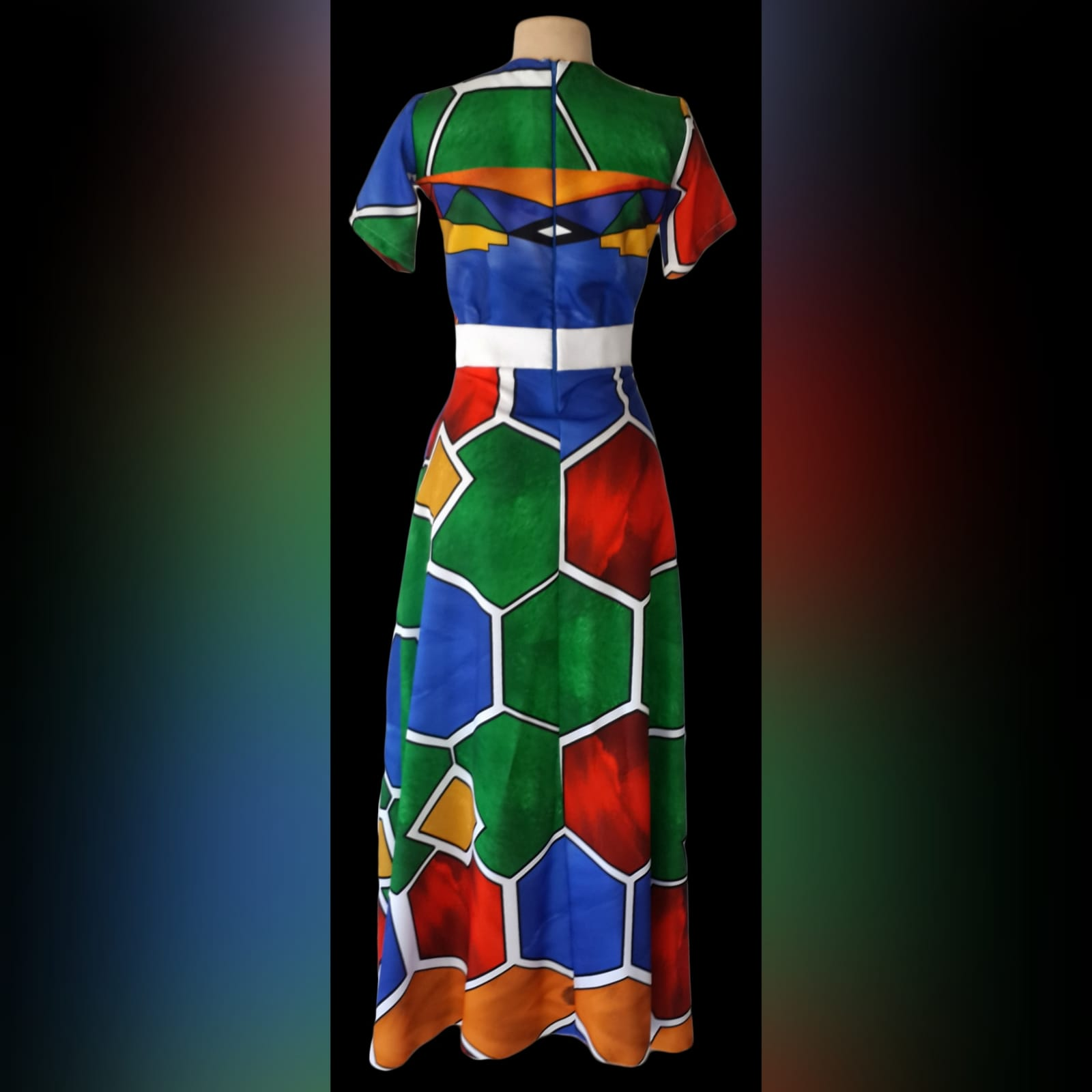 Ndebele empire fit dress with matching shirt 5 custom printed ndebele empire fit, long dress with a white under bust belt with men's matching shirt.