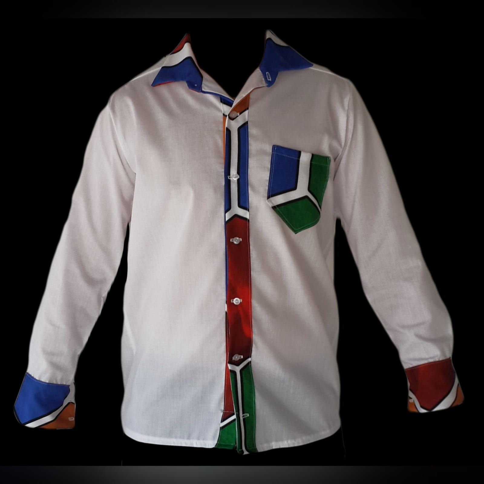 Ndebele empire fit dress with matching shirt 4 custom printed ndebele empire fit, long dress with a white under bust belt with men's matching shirt.