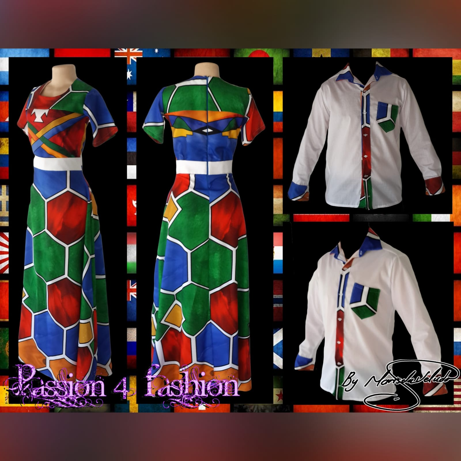 Ndebele empire fit dress with matching shirt 3 custom printed ndebele empire fit, long dress with a white under bust belt with men's matching shirt.