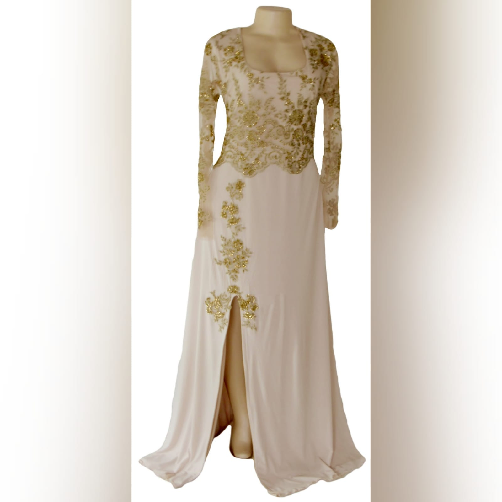 Nude and gold long evening dress 2 nude and gold long evening dress. Bodice detailed with gold beaded lace with long she sleeves, with a slit