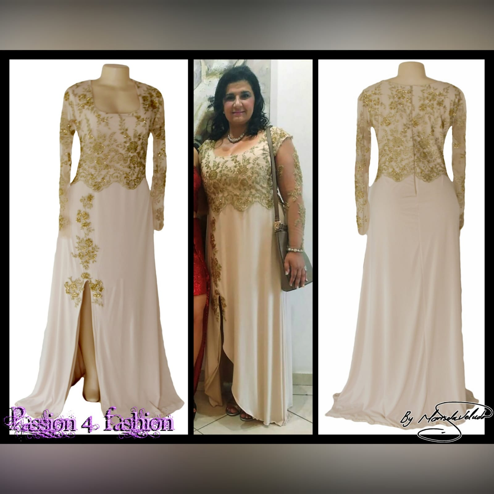 Nude and gold long evening dress 4 nude and gold long evening dress. Bodice detailed with gold beaded lace with long she sleeves, with a slit