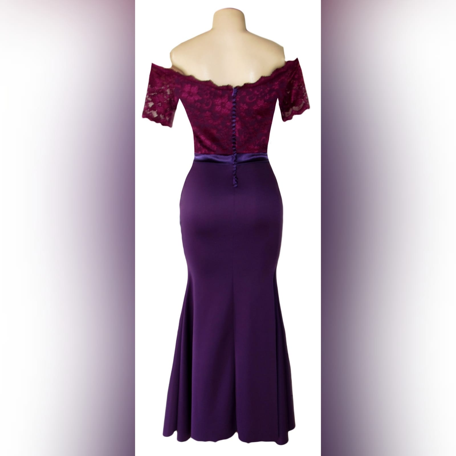 Off shoulder 2 tone purple soft mermaid bridesmaid dress 3 off shoulder 2 tone purple soft mermaid bridesmaid dress with a lace bodice. Detailed with a satin belt and buttons.