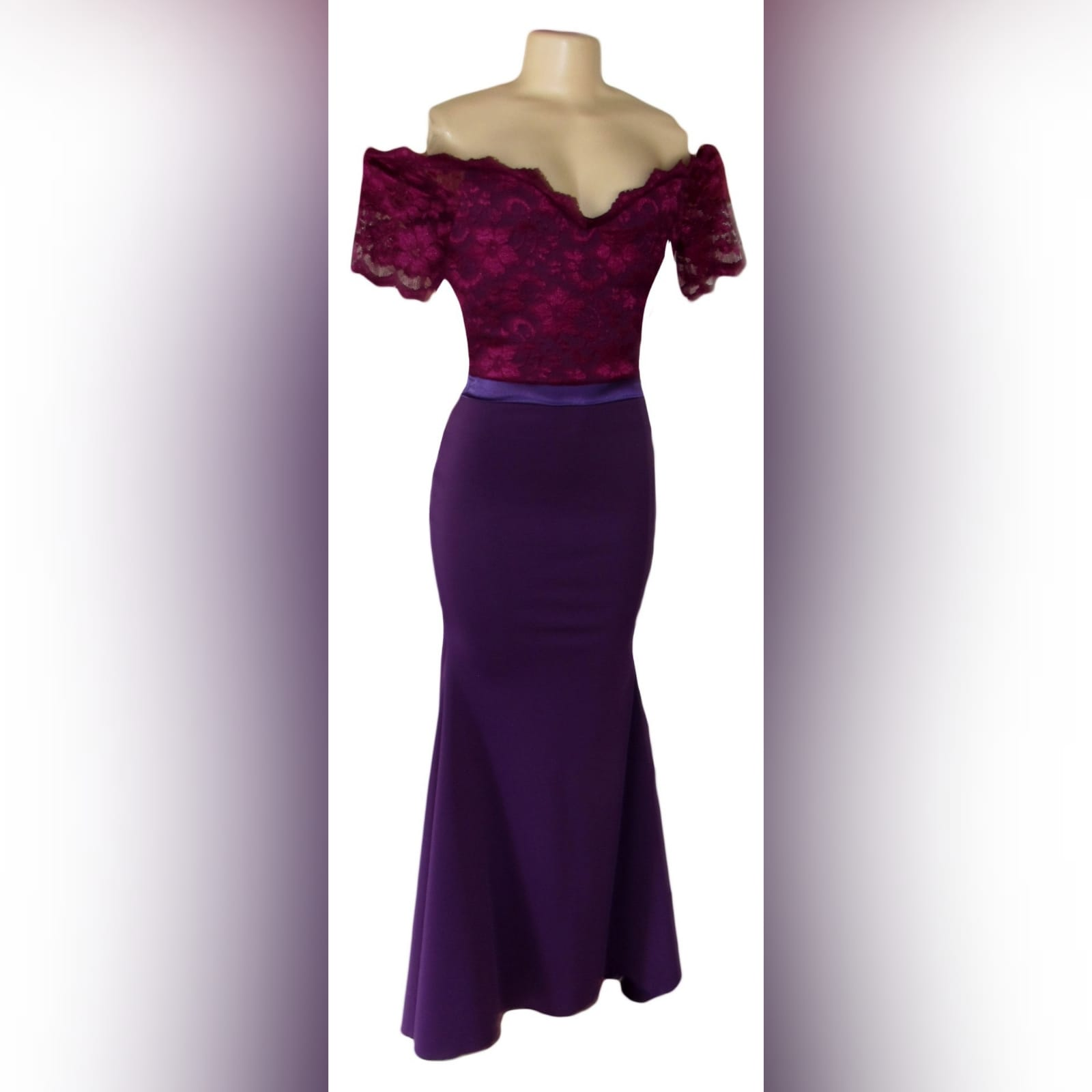 Off shoulder 2 tone purple soft mermaid bridesmaid dress 1 off shoulder 2 tone purple soft mermaid bridesmaid dress with a lace bodice. Detailed with a satin belt and buttons.