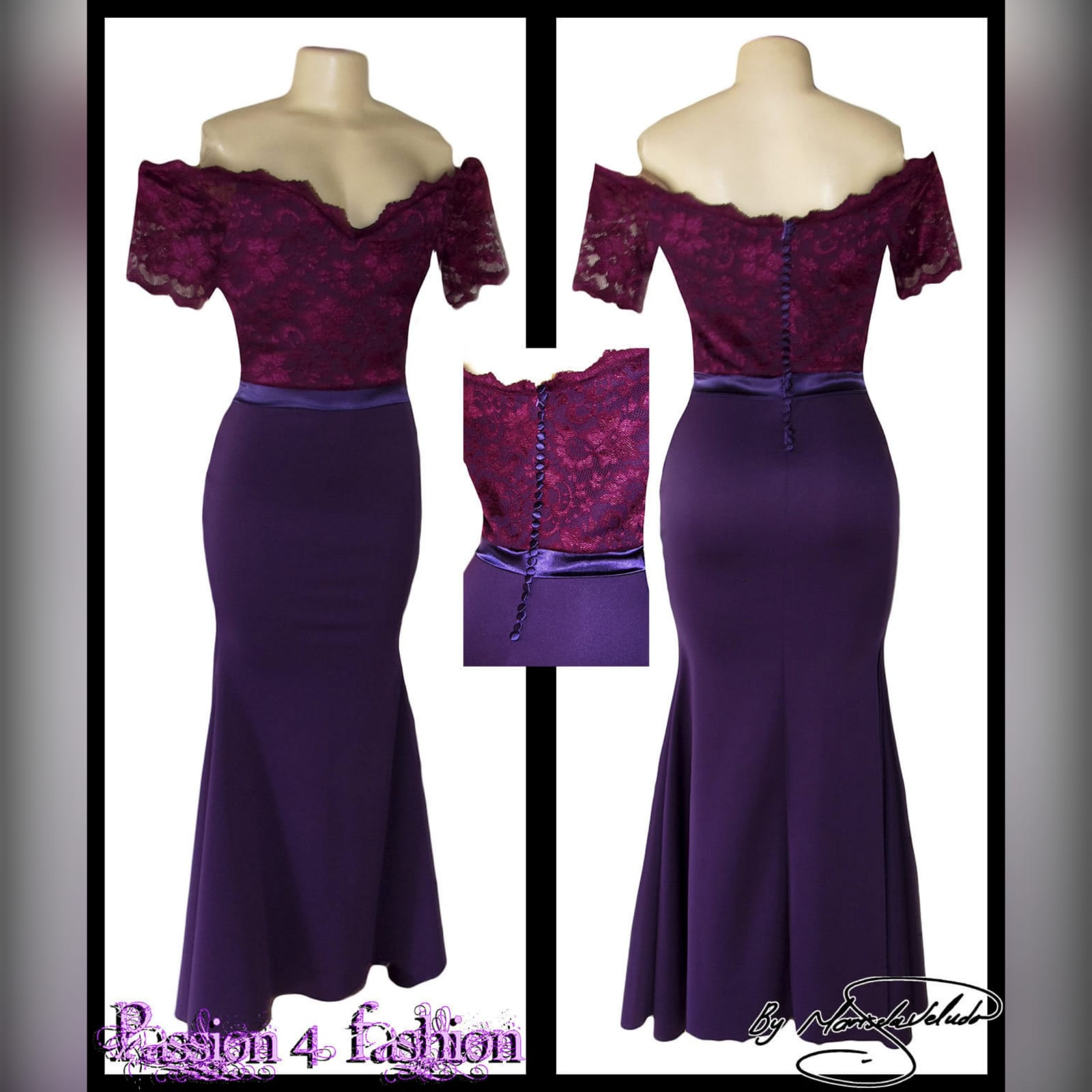 Off shoulder 2 tone purple soft mermaid bridesmaid dress 4 off shoulder 2 tone purple soft mermaid bridesmaid dress with a lace bodice. Detailed with a satin belt and buttons.