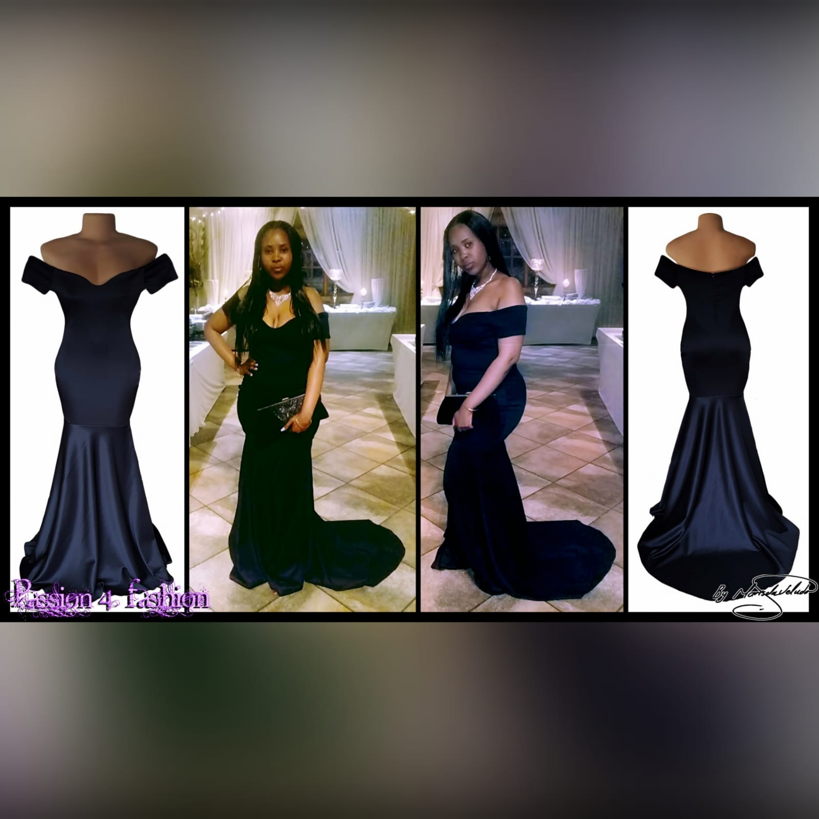 Off shoulder black soft mermaid prom dress 6 off shoulder black soft mermaid prom dress with a train and off shoulder cap sleeves