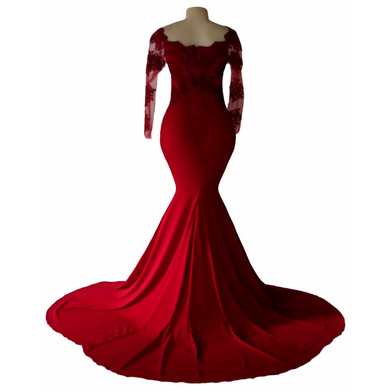 Off shoulder deep red soft mermaid prom dress 4 off shoulder deep red soft mermaid prom dress with an illusion long lace sleeves. Bodice detailed with lace and beads. With a train