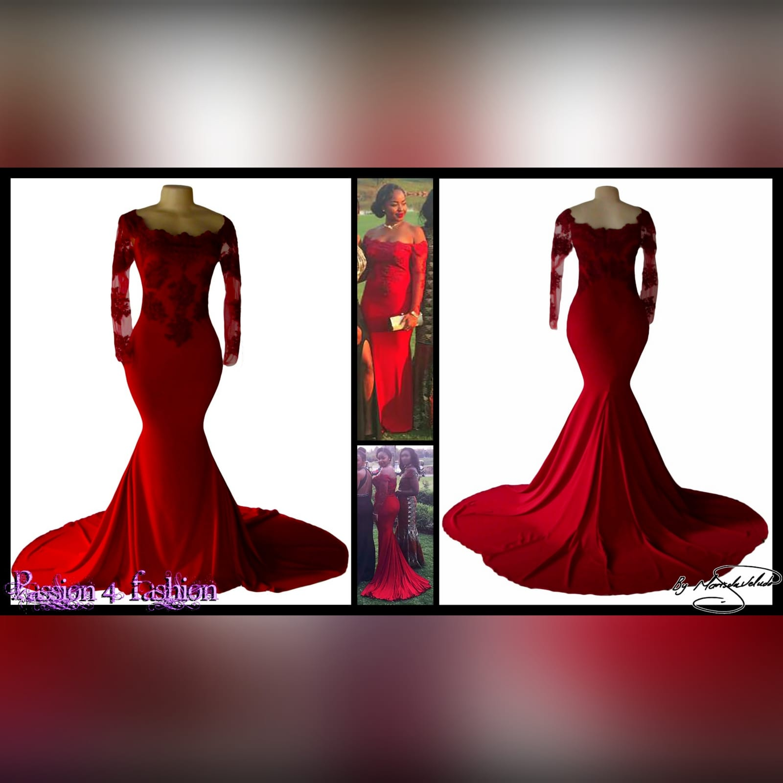 Off shoulder deep red soft mermaid prom dress 5 off shoulder deep red soft mermaid prom dress with an illusion long lace sleeves. Bodice detailed with lace and beads. With a train