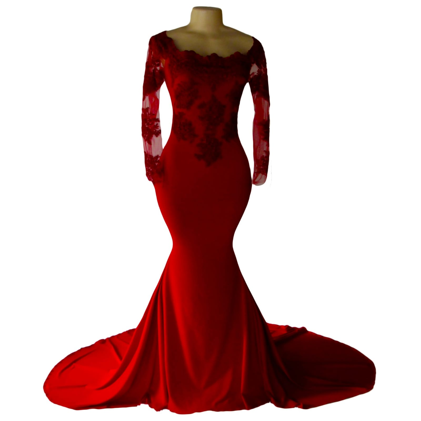 Off shoulder deep red soft mermaid prom dress 6 off shoulder deep red soft mermaid prom dress with an illusion long lace sleeves. Bodice detailed with lace and beads. With a train